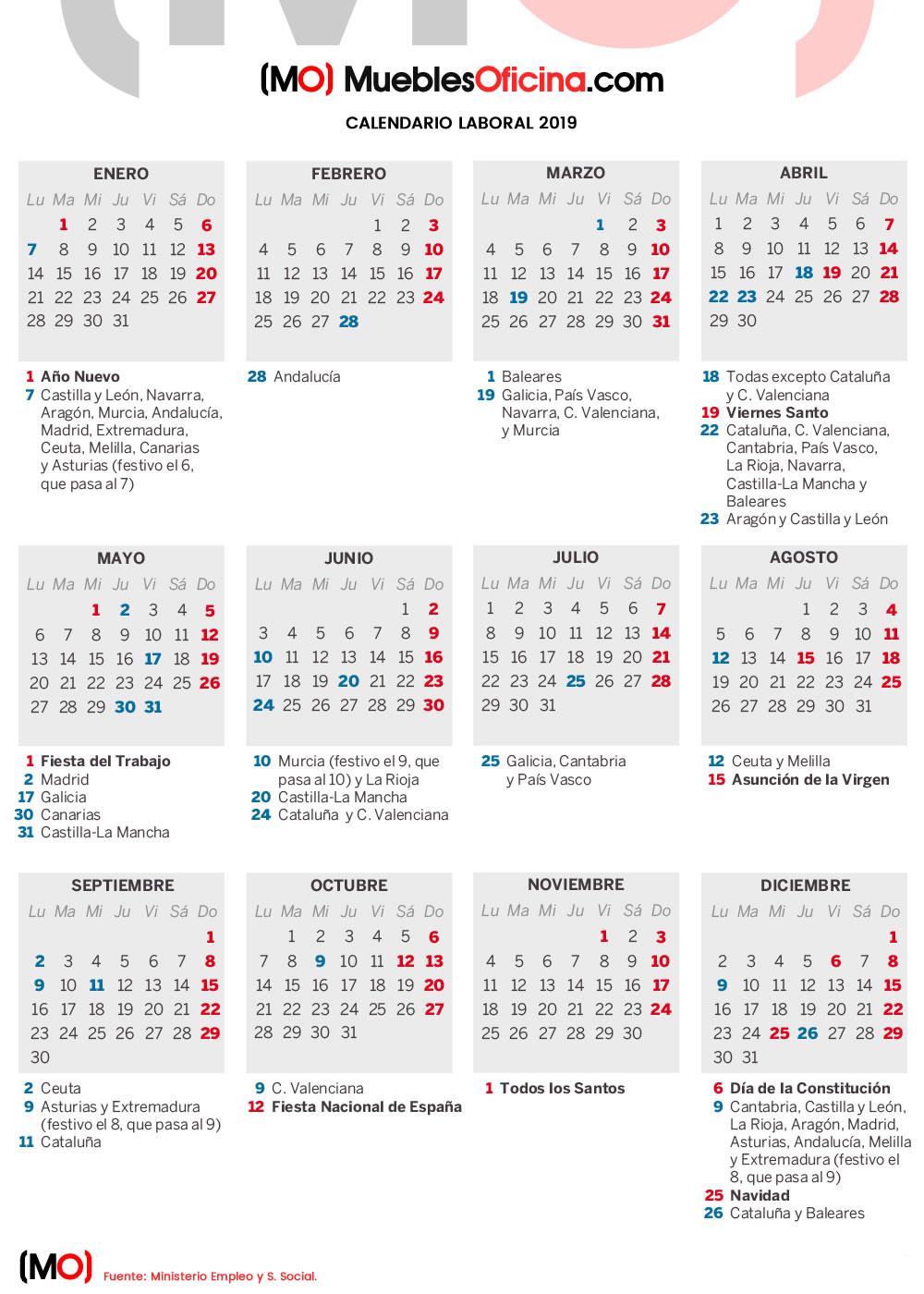 Calendario Laboral 2019 Andalucia.Calendario Laboral 2019 De Espana Muebles De Oficina